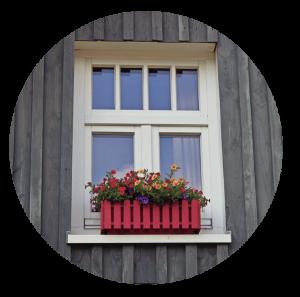 Red window flower box.