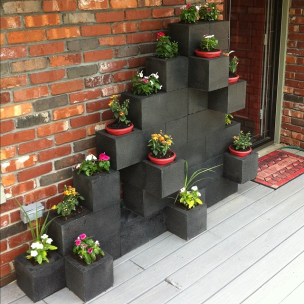 painted concrete blocks planter