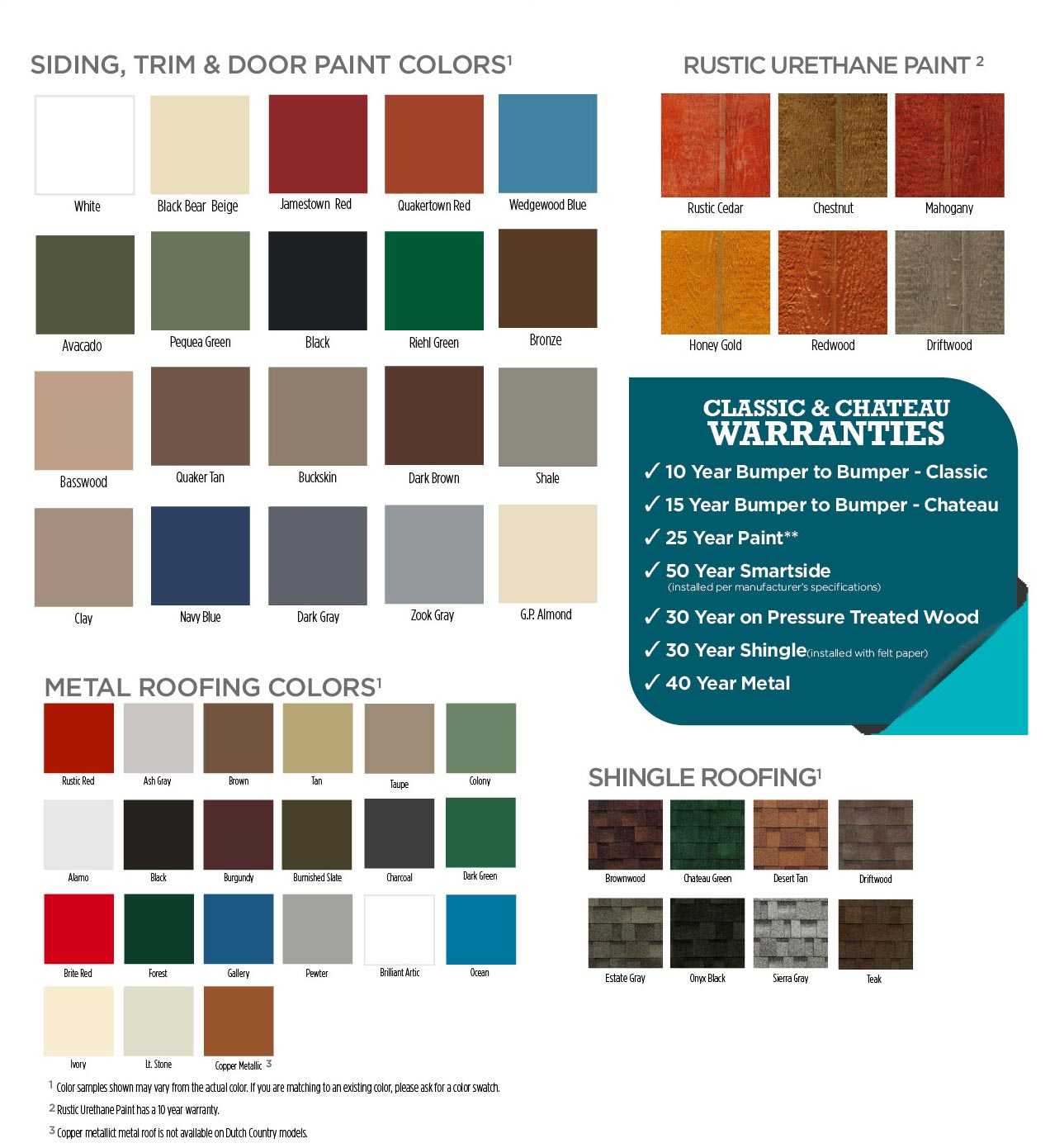 Roof and Paint Colors 2020 - Classic Buildings